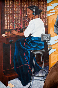 Mural African American Woman Manual Telephone Switchboard Operator Lufkin TX_1095