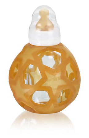 Glass Baby Feeding Bottle with Rubber Cover