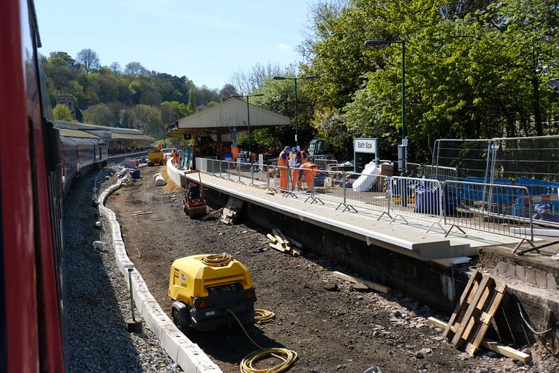Platform works at Bath Spa.