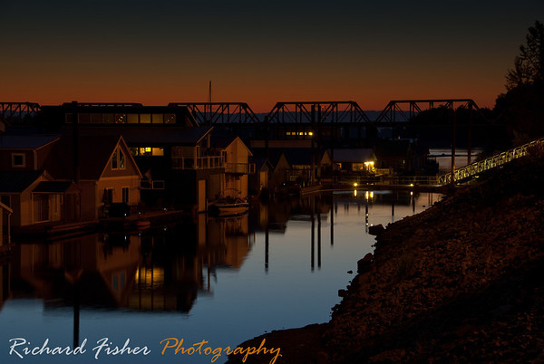 Our moorage after sunset