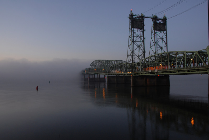 Bridge into the fog<br /> Interstate bridge over the Columbia river from the Washington side.