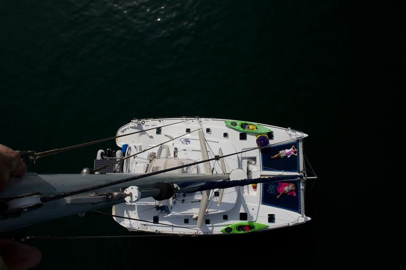 A view from aloft.<br /> At anchor off La Manzanilla, Mexico
