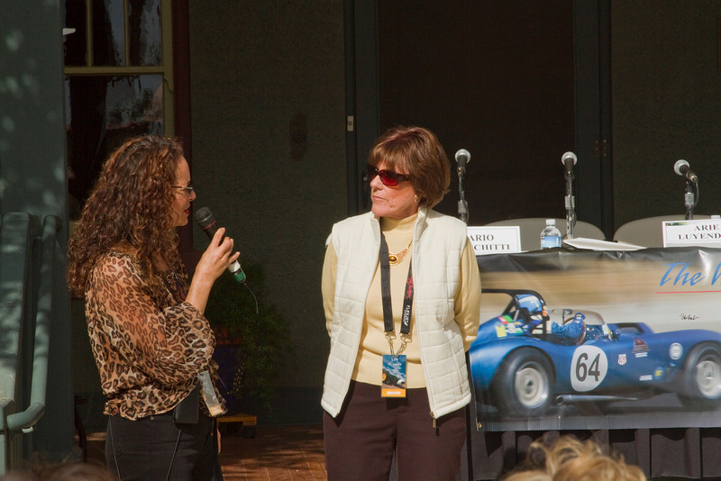 Paula introduces Lyn St James, former racing driver & moderator of our panel discussion with our famous guests