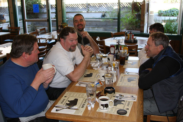 Breakfast south of Monterey on the way down Rt. 1 Thursday.    L-R  Joe, Richard, Sebastian, Val, & Barry.