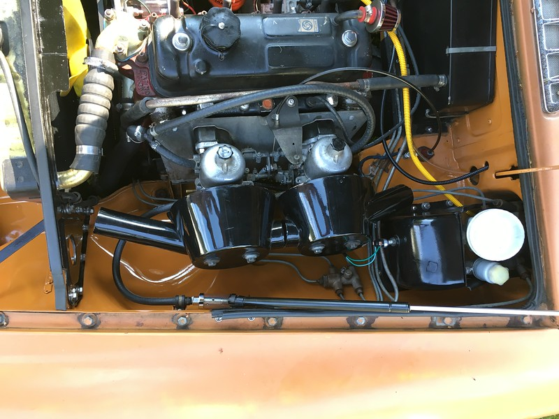 June 2016; HS4 carbs and stock air cleaners. I removed the alloy valve cover and went back to the original valve cover with a breather filter. The engine is happier now being able to breathe.
