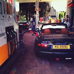Mazda MX5 at the pump