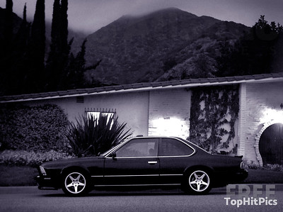 A BMW parked on a road in Pacific Palisades, California
