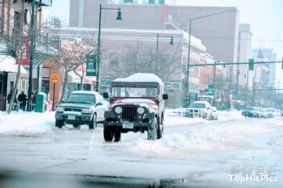 A Snowy Street Scene in Missoula, Montana