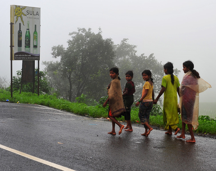 Mumbai kids - walking, rain or not