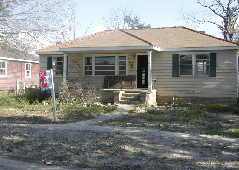Completely on the other side of the city, one of many homes for sale in the Lakeview Area.  Water line is mid-window.