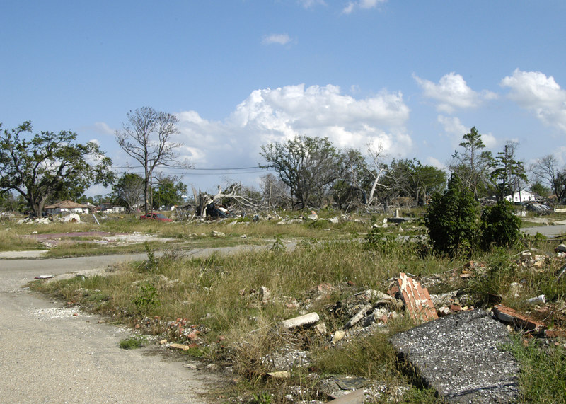 Lower Ninth Ward.  Complete devastation.  Before Katrina, this area had a high density of modest homes.  Now all that is left is rubble.