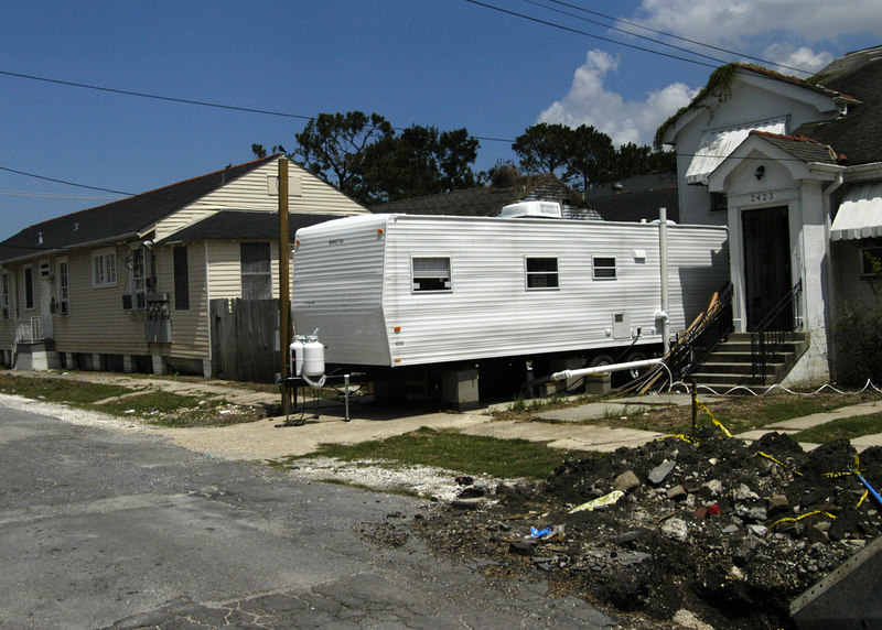 Dante Street, across the street from the apartment.   Many families are trying to make due with FEMA trailers.
