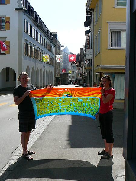 Graham and Biggi's towel posing in Switzerland