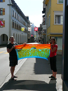 Graham and Biggi's towel posing in Switzerland