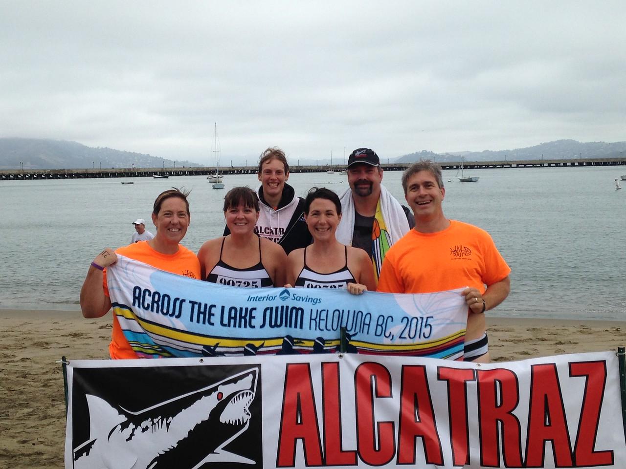 Alcatraz swim team and their towel