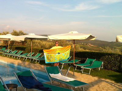 Phred's towel enjoying Italy