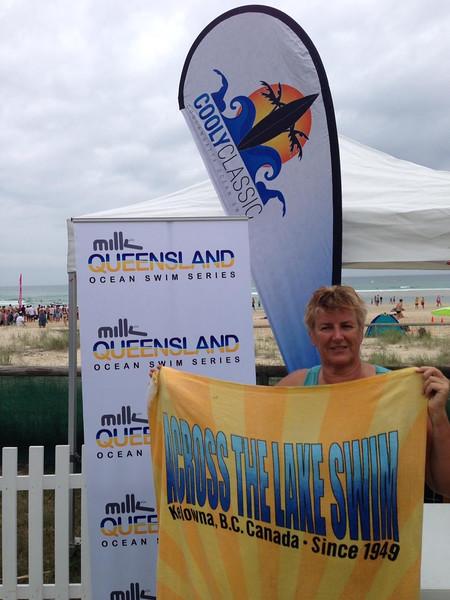 Helen's towel showed up at the Cooly Classic Ocean Swim at Kirra Beach, Queensland, Australia