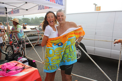 Mark and Chrissie Wellington wrapped in a towel in Kona