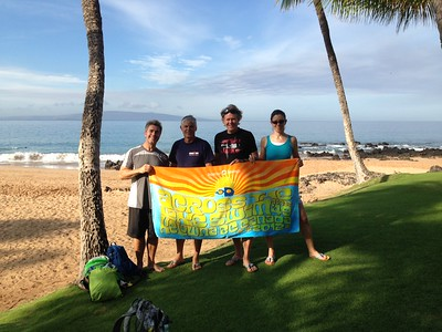 Phred, Mark, Graham, Biggi and a towel in Mana Kai, Maui