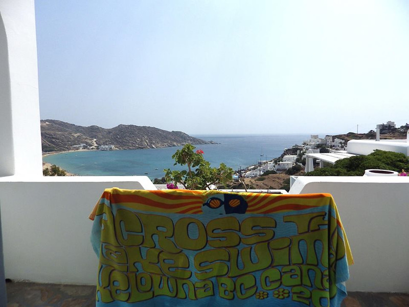 Leora's towel chilling on the Island of Ios, Greece