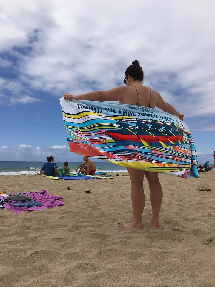 Sarah's towel enjoying the beach near Kona, Hawaii