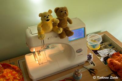 Teddy & Friend Go Sewing