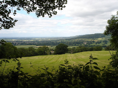 view from Belas Knapp road towards Sudeley Castle and Winchcombe