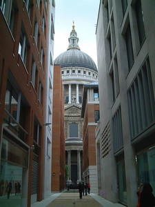 A view of St Pauls from the approach to the Millennium Bridge, taken on a visit with Mary and her sisters.
