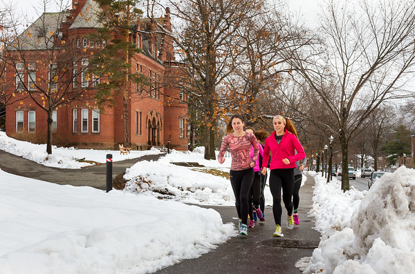 College students running on Dartmouth College Campus in Hanover, NH