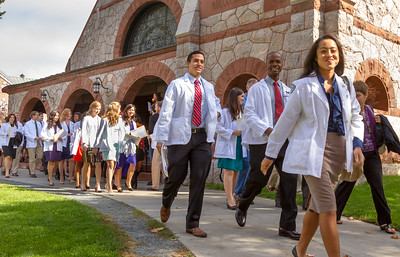 Medical Students file out of Rollins Chapel at Dartmouth College after the Geisel White Coat ceremony