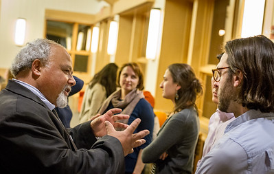 Eric Goosby, MD (left), former head of the PEPFAR initiative, in discussion with students at a Dickey Center event at Dartmouth College in Hanover, NH