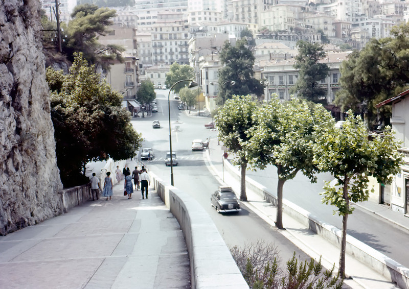 Monaco<br /> Looking down Rampe Major (which goes up to the palace) towards  Place des Armes