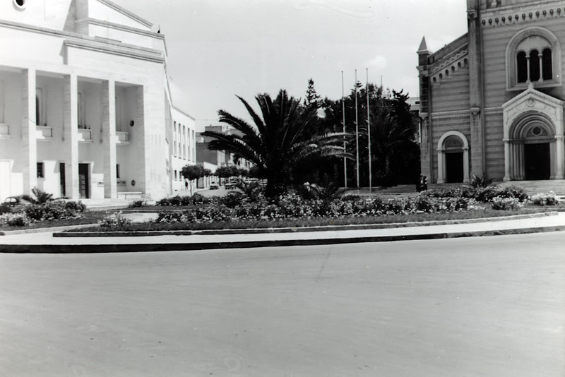 Cathedral of Tripoli (right), Now the Maidan al Jazair Square Mosque.<br /> Main Post Office to the left<br /> Tripoli, Libya