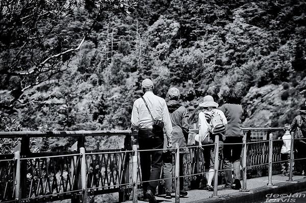 deception-pass-bridge-tourists-bw