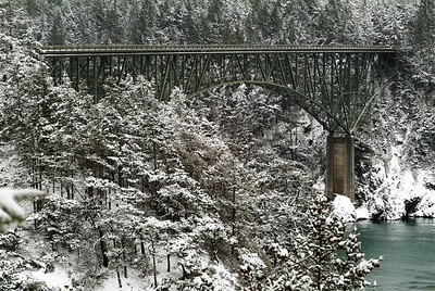 Deception Pass Bridge in Snow.