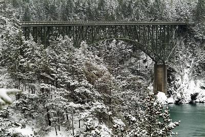 Deception Pass Bridge in Snow.