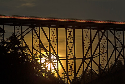 Moonrise at Deception Pass Bridge.