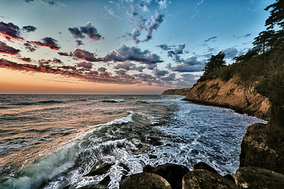West Beach Surf: a colorful sunset on Whidbey Island