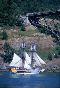 Salute: Lady Washington salutes onlookers at Deception Pass, Washington.