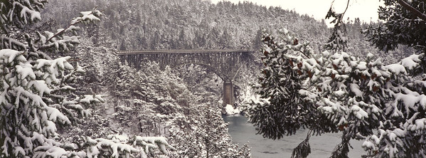Deception Pass Bridge in Snow Panorama.