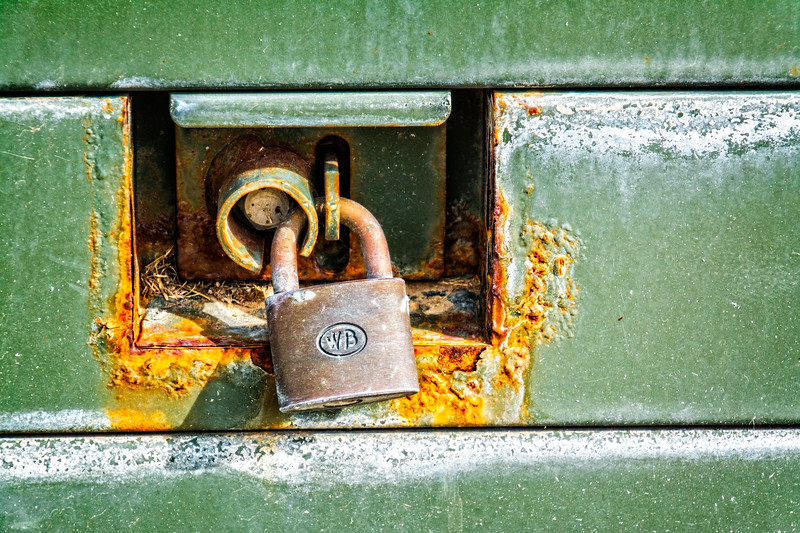 Another rusty green thing with a lock. They're everywhere!