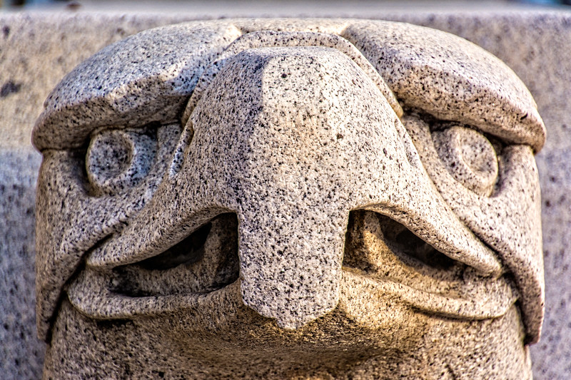 One of the two eagle heads on the steps of the Frank E. Moss Courthouse in Salt Lake City