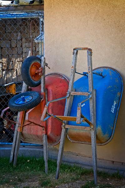 Wheelbarrows in the Walker's yard