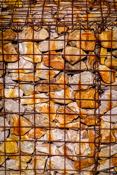The Daybreak designers use a lot of rock-filled wire cages as decorative retaining walls.