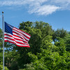 The flag above the WWI Memorial in Memory Grove