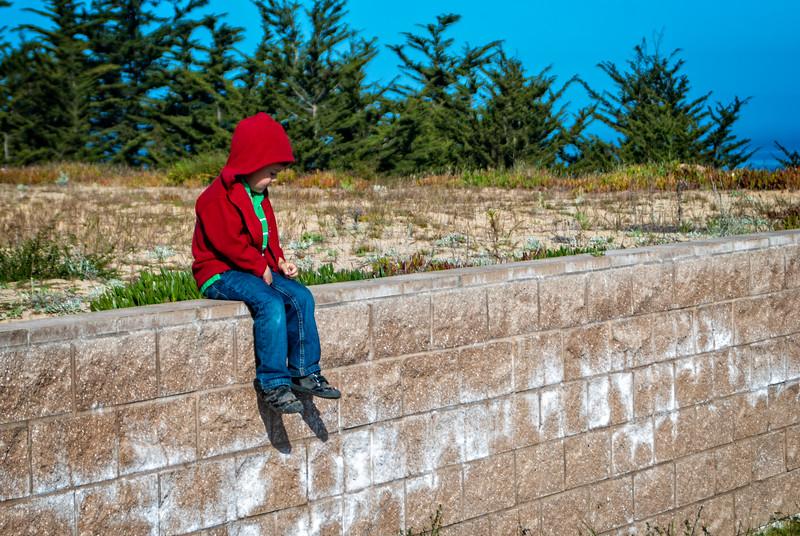 Eli sitting on a wall