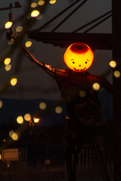 During the fall, someone puts a pumpkin face on the Daybreak statue on Soda Row.