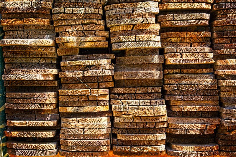 Stacked fence material In the Walker's yard. They made for a great pattern.