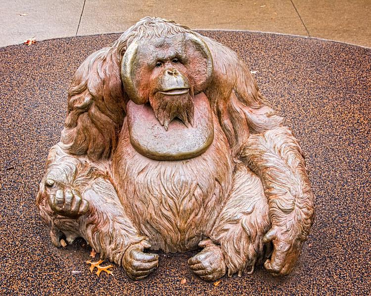 An orangutan sculpture at the Kansas City Zoo