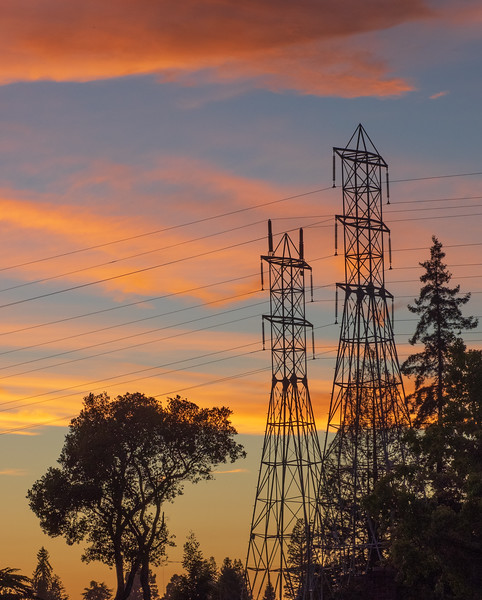 Horizontal Clouds and Vertical Trees and Transmission Towers at Sunset